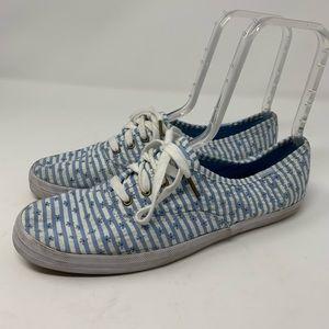 Keds Women's Taylor Swift Blue Seersucker Sneaker